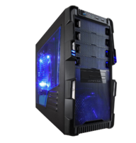 Apevia X-HERMES-BL ATX Mid Tower PC Gaming Case with 5 Fans, Large Blue Tinted Side